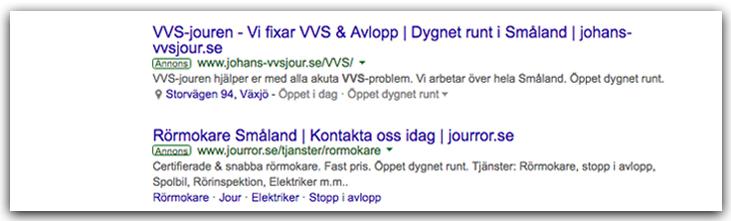 Svenska Google Adwords-annonser på Google