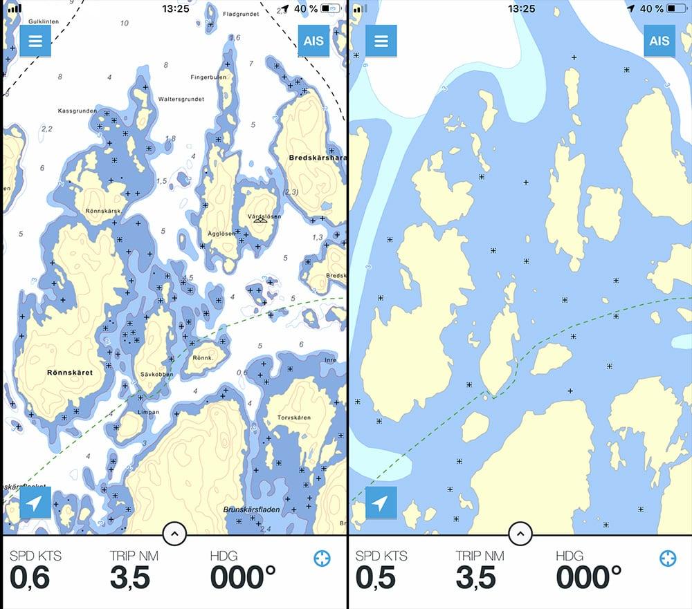 Sjökort med data från Hydrographica