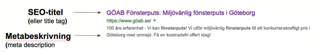 Metabeskrivning och SEO-titel på Google