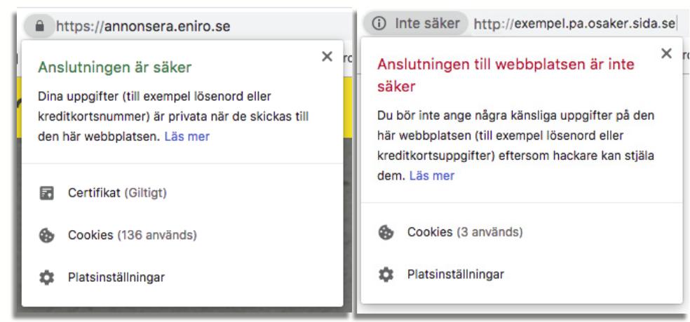 Screenshot av SSL-certifiering